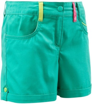 Quechua Solid Girl's Green Sports Shorts