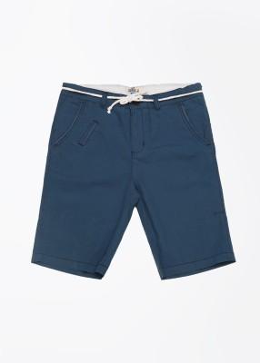 People Solid Boy's Blue Basic Shorts