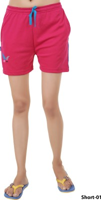 Red Ring Solid Women's Pink Basic Shorts