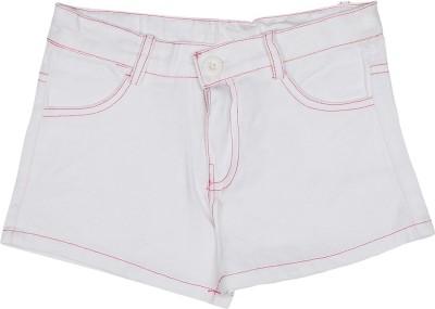 Addyvero Solid Girl's White, Pink Basic Shorts