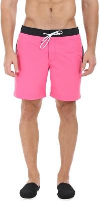 Zobello Solid Mens Black, Pink Swim Shorts