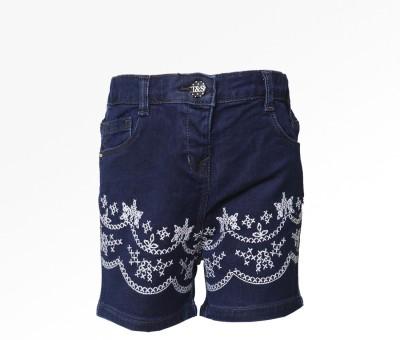 Tales & Stories Embroidered Baby Girl,s Denim Dark Blue Basic Shorts