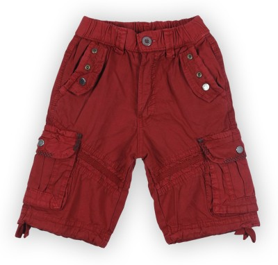 Lilliput Solid Boy's Red Bermuda Shorts