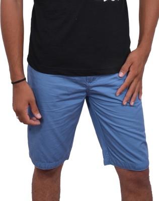 fak Solid Men's Blue Chino Shorts