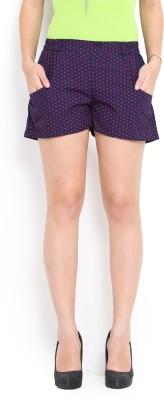 Trend Arrest Printed Women's Dark Blue Basic Shorts