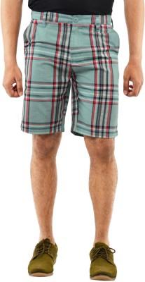 Blue Wave Checkered Men's Multicolor Basic Shorts