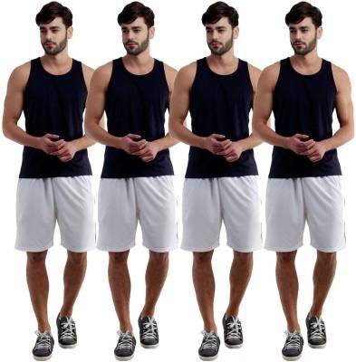 Dee Mannequin Self Design Men's White, White, White, White Sports Shorts