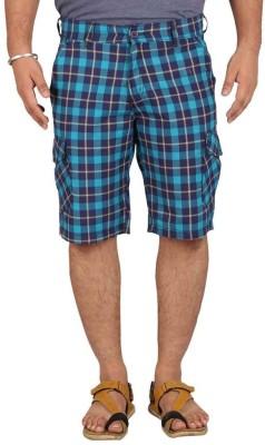 Ramarrow Checkered Men's Dark Blue Cargo Shorts