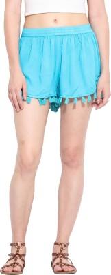 Paprika Solid Women's Blue Culotte Shorts