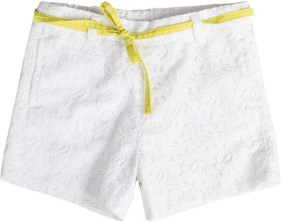 Buttercups Solid Girl's White Basic Shorts