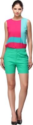Nineteen Solid Women's Green Basic Shorts
