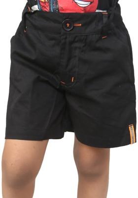 Ebry Solid Boy's Black Basic Shorts