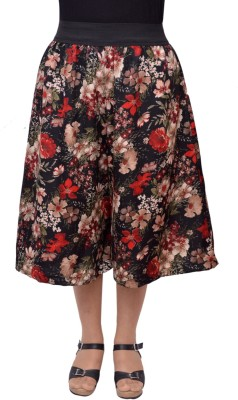 Grace Diva Floral Print Women's Black Culotte Shorts at flipkart