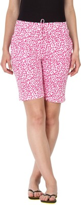 Lovable Printed Women's Red, White Basic Shorts