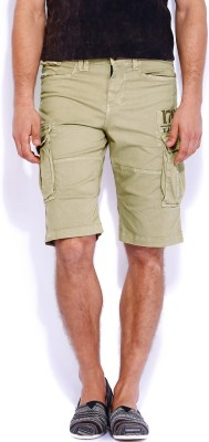 Rookies Solid Men's Beige Cargo Shorts