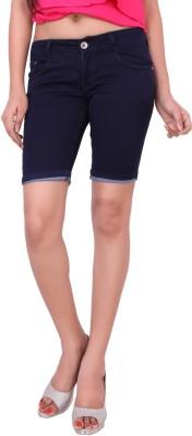 Airways Solid Women's Dark Blue Denim Shorts