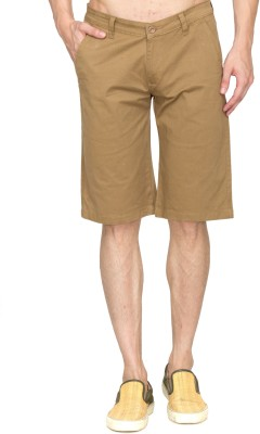 GBOS Solid Mens Beige, Brown Chino Shorts