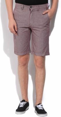 Jeanswest Australia Solid Men's Purple Basic Shorts