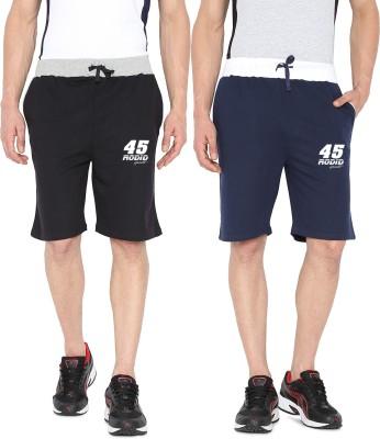 Rodid Solid Men's Black, Blue Sports Shorts