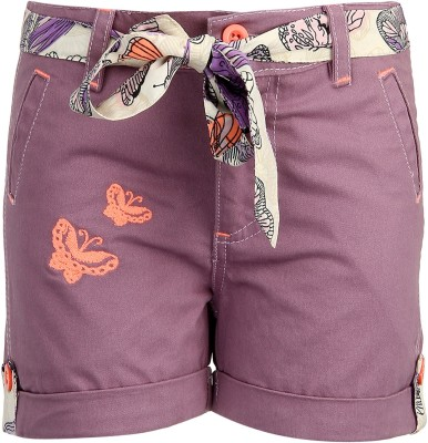 Bells and Whistles Printed Baby Girl's Purple Basic Shorts