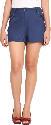 Ama Bella Solid Women's Blue Basic Shorts