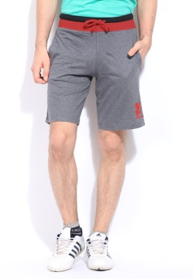 Chromozome Solid Men's Grey Sports Shorts