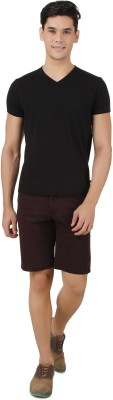 NULUK Solid Men's Maroon Chino Shorts