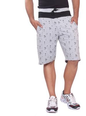 Black Casual Printed Men's Grey Basic Shorts