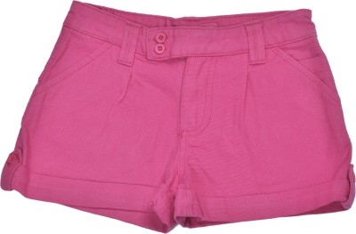 Bio Kid Solid Girl's Pink Cargo Shorts