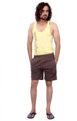 MountainColours Solid Men's Brown Basic Shorts