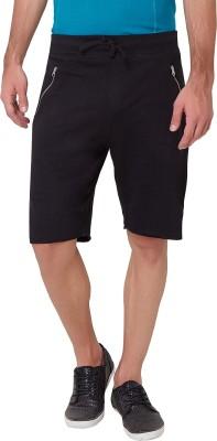 Elaborado Solid Men,s Black Basic Shorts