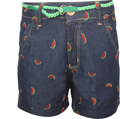 Vitamins Embroidered Girl,s Red Denim Shorts