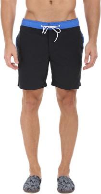 Zobello Solid Mens Blue, Black Swim Shorts