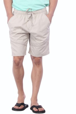 Bornfree Solid Men's White Bermuda Shorts