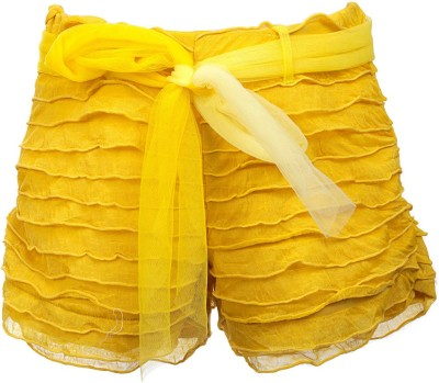 Lil Poppets Solid Girl's Yellow Basic Shorts