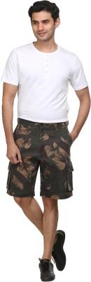 Sniper Self Design Men's Dark Green Cargo Shorts