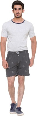 FREE RUNNER Printed Men's Grey Beach Shorts