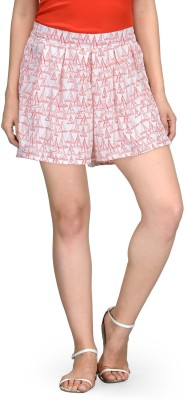 Vemero Printed Women's White Beach Shorts