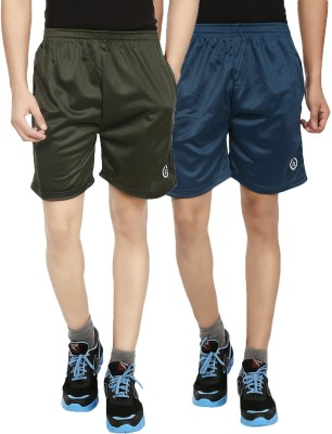Forever19 Solid Men's Green, Blue Gym Shorts, Basic Shorts