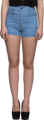 tryfa Solid Women,s Denim Blue Denim Shorts