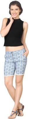 True Fashion Graphic Print Women's Denim Blue Denim Shorts