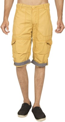 Truccer Basics Solid Men's Yellow Cargo Shorts
