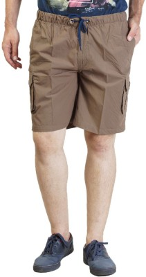 Seaboard Solid Men's Brown Cargo Shorts