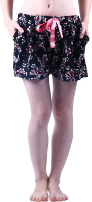 Vixenwrap Floral Print Women's Black Night Shorts