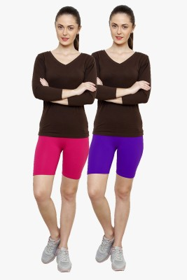 Softrose Solid Women's Pink, Purple Cycling Shorts