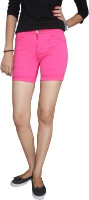 Fungus Self Design Women's Pink Denim Shorts