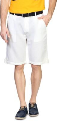 People Solid Men's White Basic Shorts