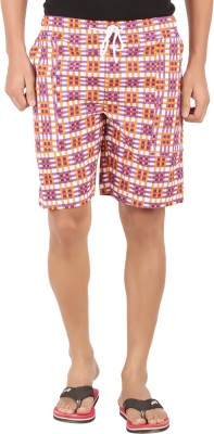 M Tex Checkered Men's Yellow, Purple Basic Shorts