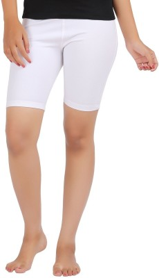 Sungrace Solid Girl's White Cycling Shorts