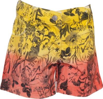 Joshua Tree Printed Girl's Yellow Hotpants